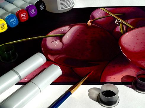 Copic-marker-realism-cherries