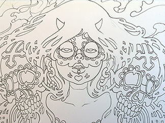 Inking-Sugar-Skull-Drawing-sm