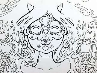 Inking-Sugar-Skull-Drawing-sm2