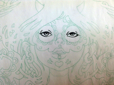 Inking-Tracing-Paper-Sugar-Skull-Drawing-2