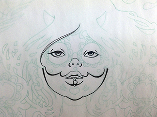Inking-Tracing-Paper-Sugar-Skull-Drawing-4