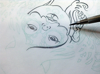 Inking-Tracing-Paper-Sugar-Skull-Drawing-5